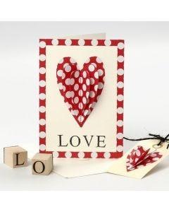 Valentinskort med påsydd hjerte og stemplet tekst