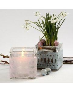 Lysglass med belte av pastellfarget, klippet silkepapir