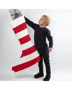 Maxi julestrømpe med rødmalte striper