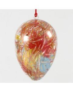 Todelt egg av klar akryl med abstrakt maleri