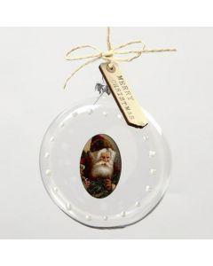 Dekorert, flat glasskule i oppheng med tresticker