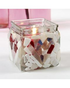 Lysglass med mosaikk av glass
