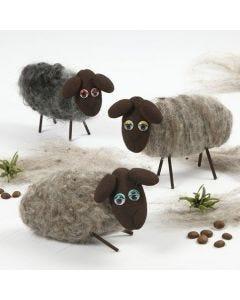 Sauer av isopor med nålefiltet ull