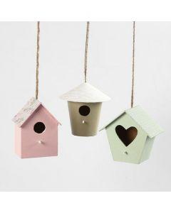 Fuglehus til pynt, malt og dekorert med designpapir
