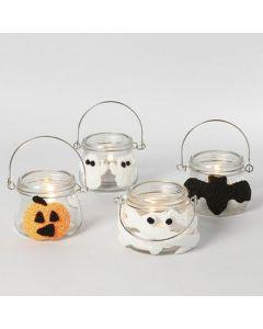 Lanterner til Halloween, pyntet med figurer av Foam Clay