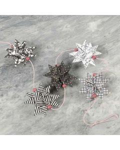 Flettede stjerner i Paris design og treperler på snor