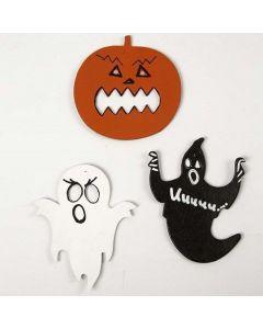 Pappfigurer til Halloween, tegnet og malt
