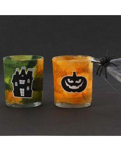 Lysglass med stråsilkepapir og Halloween stickers