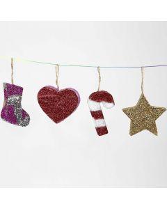 Juleoppheng av pappmache med glitter