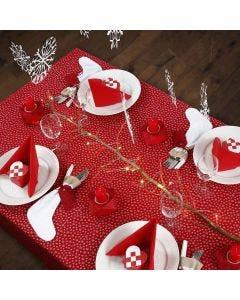 Oppdekking til jul i rødt og hvitt