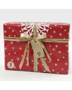 Gaveinnpakking i rødt, hvitt og gull