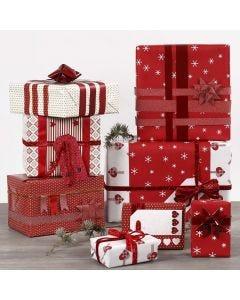Gaveinnpakning og pynt i rødt og hvitt
