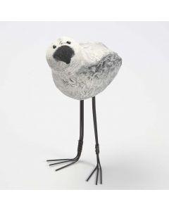 Langbent fugl av isopor kledd med pappmache pulp
