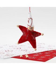 Stjerneformet nisse av filt med glitter