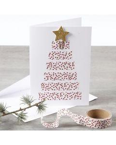 Dobbeltkort dekorert med juletre av Masking Tape