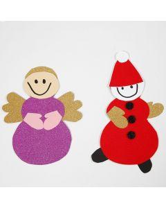 Engel og nisse laget med sjablong og materialer fra klippepakke til jul