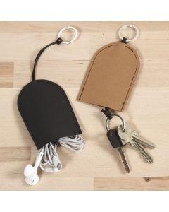 Pung til nøkler og headset av lær papir