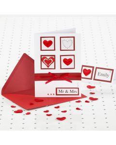 Rødt og hvitt bryllupskort med Rhinsten
