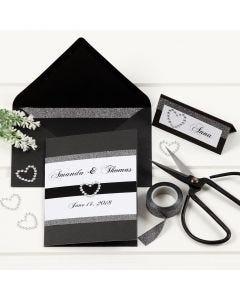 Bryllupskort i svart med blonde designtape