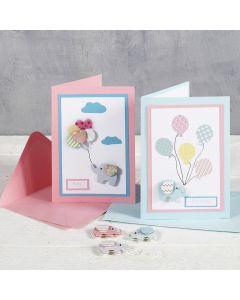Babyshower - Til og Fra kort med motiv stickers