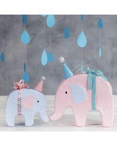 Dekorert elefant med hobbymaling og liten fest- hatt