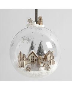 Julekuler med miatyrlandskap av Foam Clay og trefigurer
