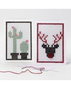 Brodert kort med kaktus og reinsdyr