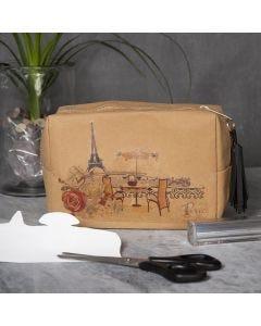 Kosmetikkpung av lærpapir med motiv overført med transferark