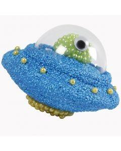 Ufo av isopor pyntet med Foam Clay, Pearl Clay og deko-kule