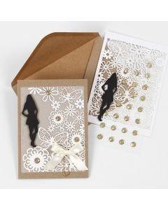 Konfirmasjonsinnbydelse med kartongmerke, blondekartong og pergamentpapir