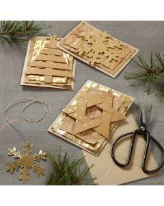 Julekort pyntet med lærpapir oppheng