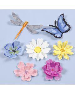 Utstansede insekter og blomster med 3D effekt