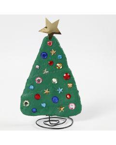 Juletre av bonzaitråd og gipsgaze dekorert med rhinsten