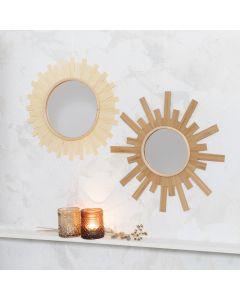 Speil pyntet som sol med trefinér