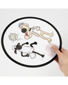 S for sauen Shaun frisbee fargelagt med tekstiltusj