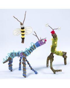 Dyr og insekter laget av grener, garn og Sticky Base