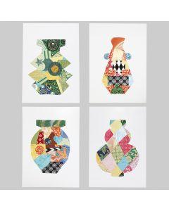 Symmetriske motiver dekorert med håndlaget papir