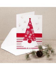 Julekort med nesenisse laget av designpapir