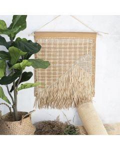 Veggoppheng av lærpapir, rørflett og raffia papirgarn