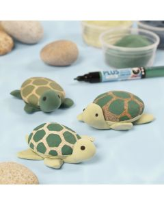 Skildpadde malet på sten med Plus Color tusch og Silk Clay.