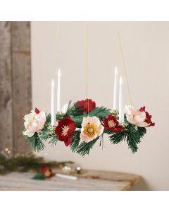 Adventskrans med papir blomster av krepp papir