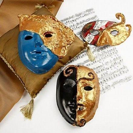 Masker Rokokko med art metall gull
