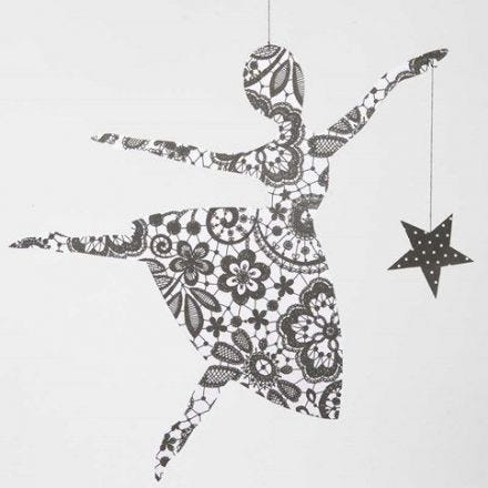 Ballerina med stjerne av Paris designpapir