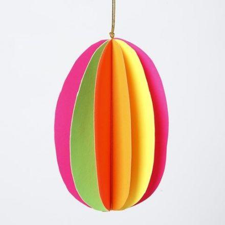 Egg i 3D av neonfarget kartong