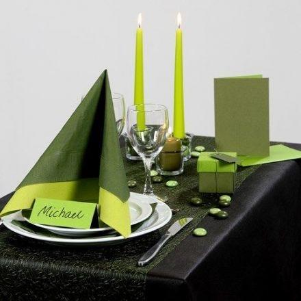Inspirasjon til fest med grønn borddekking, bordpynt m.m.