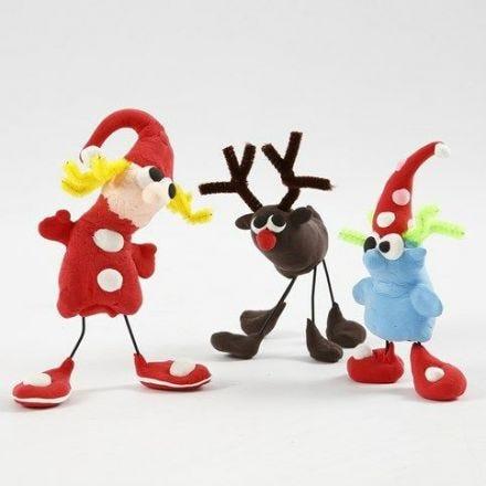 Julefigurer av Silk Clay, trådstenger og chenille