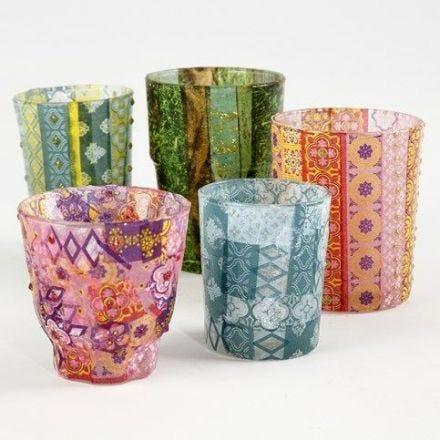Lysglass med mønstrete decoupagepapir