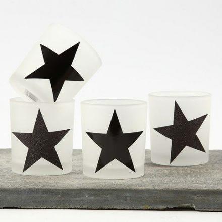 Lysglass med stjerner av designpapir