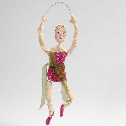 Ballerina av bonzaitråd i gull med pulp