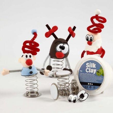Julefigur av Silk Clay på fjær